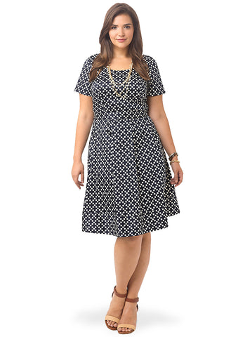 V-back Dress In Classic Navy Dots