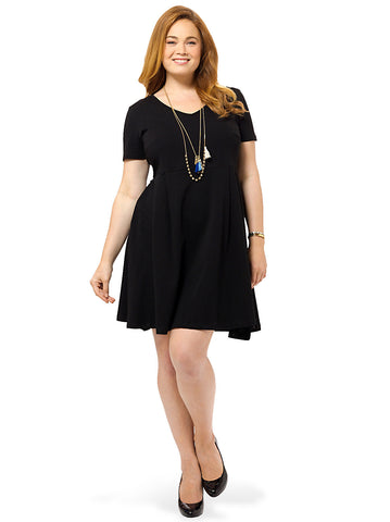 V-Neck Skater Dress With Seam Detail In Black