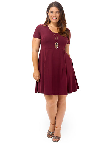 V-Neck Skater Dress With Seam Detail