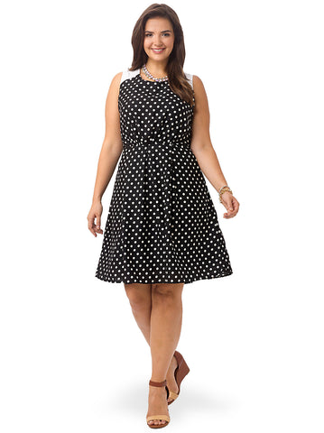 Polka Dot Front Pleated Dress