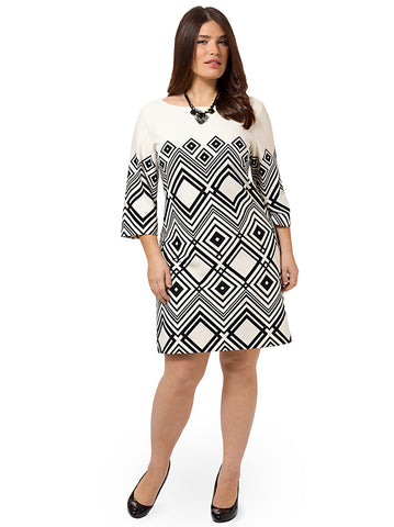 Geometric Shift Dress In Ivory & Black