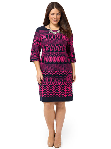 Printed Shift Dress In Navy & Raspberry