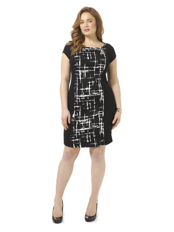 Elle Sheath Dress In Lattice Noir