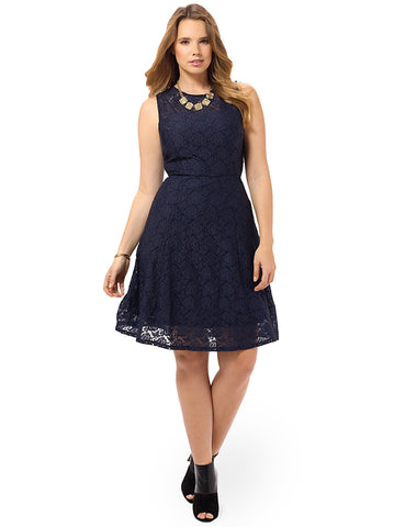 Milan Navy Lace Fit & Flare Dress