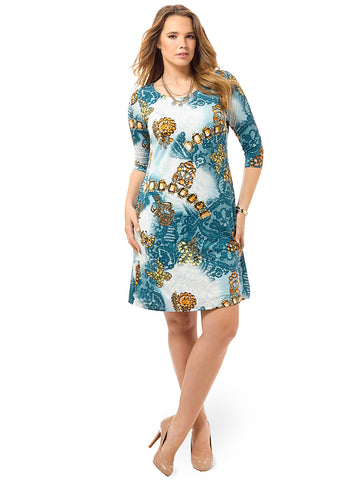 Bejeweled Lace Print Shift Dress