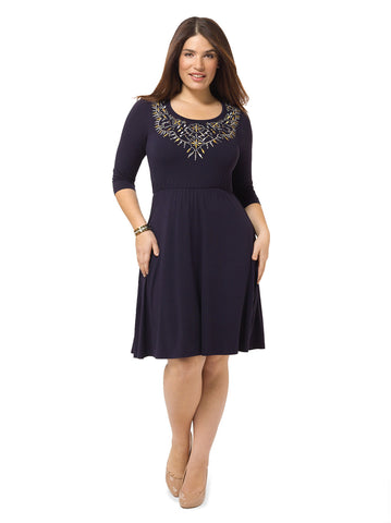 Dress With Embroidered Neckline