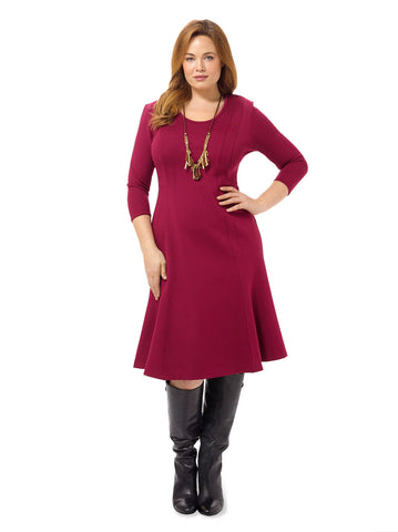 Amelia Curved Seam Fit And Flare Dress
