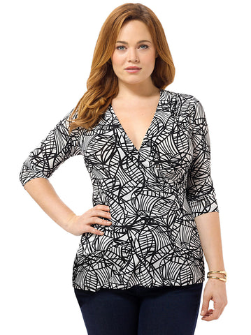 Etched Printed Surplice Top