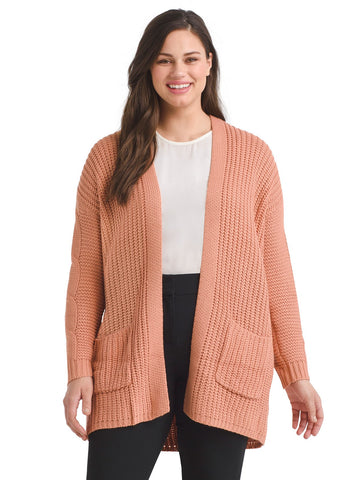 Cableknit Coral Cardigan