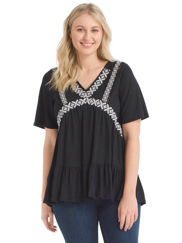 Embroidered Black V-Neck Top