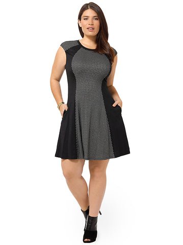 Mesh Front Dress With Contrast Panels