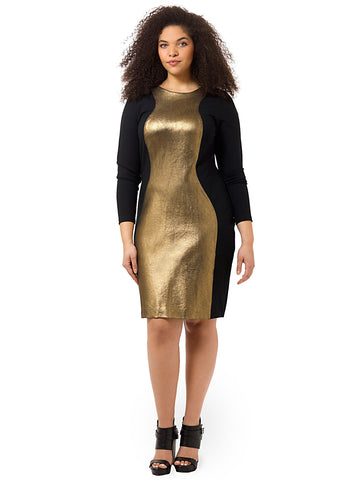 Gold & Black Colorblock Dress