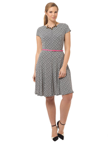 Belted Fit & Flare Dress In Geo Print