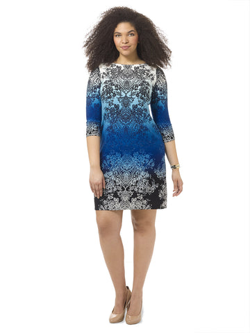 Ombre Printed Shift Dress In Blue