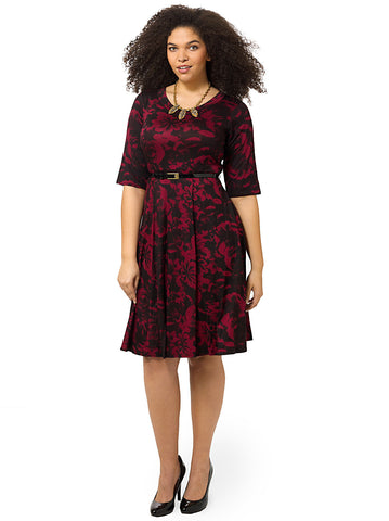 Black & Red Rose Print Skater Midi Dress With Patent Belt