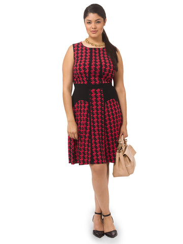 Sleeveless Dress In Red Houndstooth