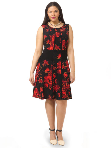 Sleeveless Dress In Abstract Rose Print