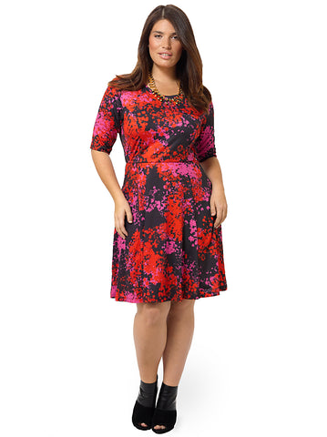 Painterly Print Fit & Flare Dress