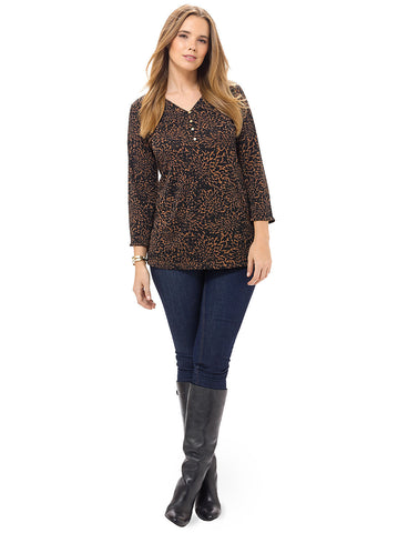 3/4 Sleeve Henley Top In Burnt Floral