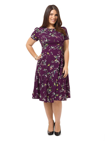 Purple Dress In Bird Print