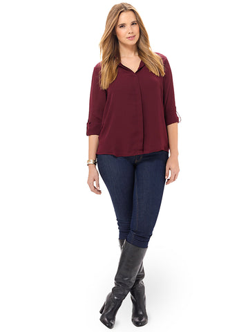 Rolled Sleeve Blouse In Brandywine