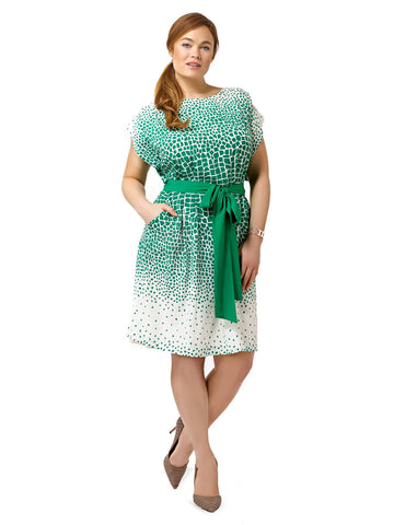 Mosaic Print Dress With Green Sash