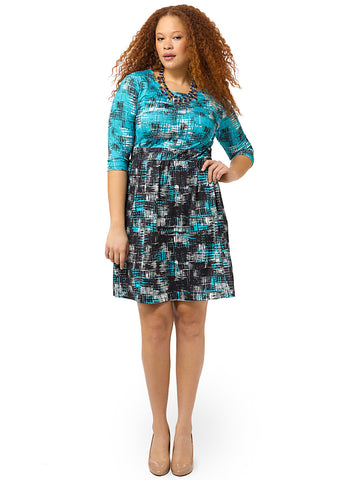 Two-Toned Crosshatch Chelsea Dress