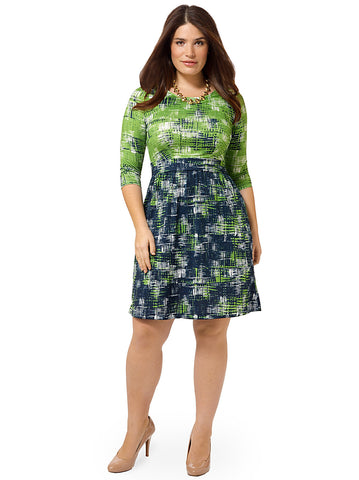 Blue Green Crosshatch Chelsea Dress