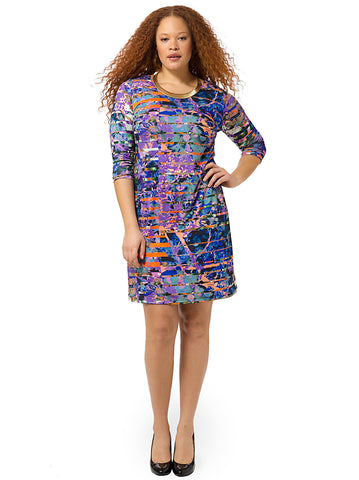 Colorfully Marbled Shift Dress
