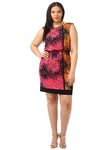 Palm Print Blouson Dress