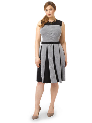 Stripe Dress With Pleated Skirt