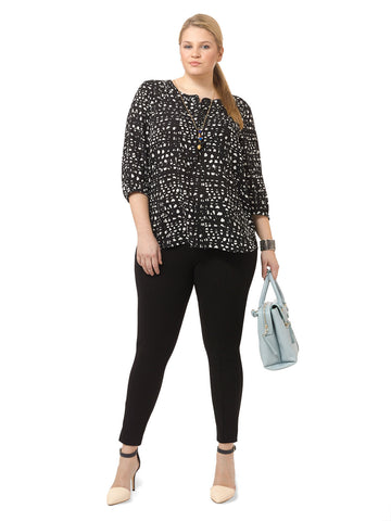 3/4 Sleeve Pleat Back Blouse In Lattice Print