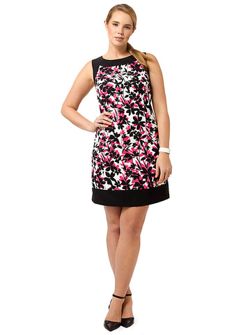 Pink & Black Floral Shift Dress