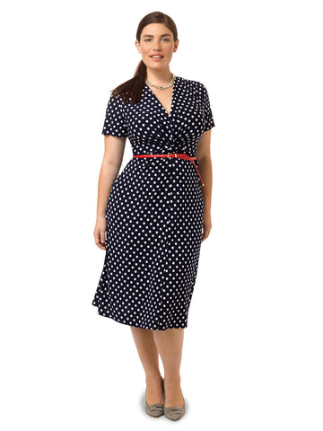 Twisted Fit & Flare Dress In Polka Dot