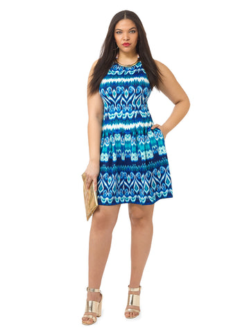 Scuba Dress In Navy & Turquoise