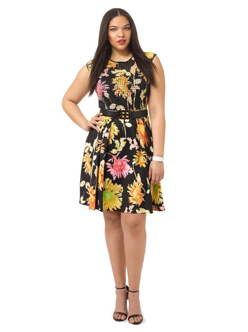 Scuba Dress In Black Floral