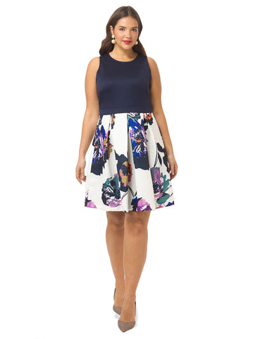 Contrast Fit & Flare Dress in Floral Print