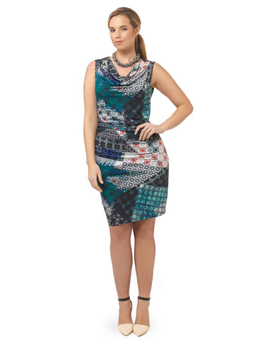 Patchwork Printed Ruched Dress