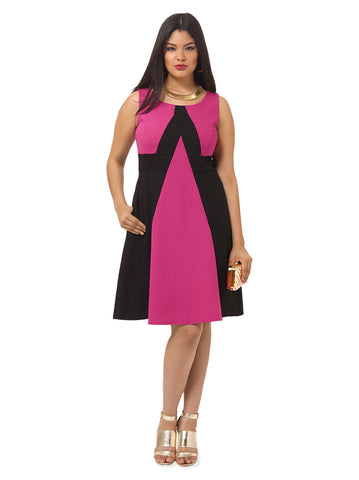 Monica Dress In Fuchsia & Black