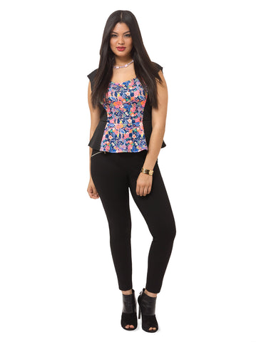Floral Peplum Top With Panels