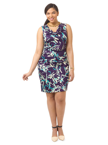 Navy Confetti Ruched Dress