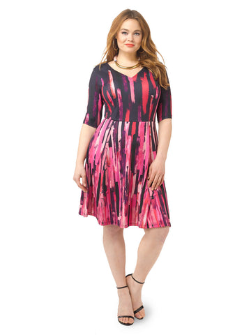 Fuchsia Brushstroke Fit & Flare Dress
