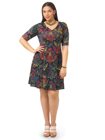 Vibrant Demask Fit & Flare Dress