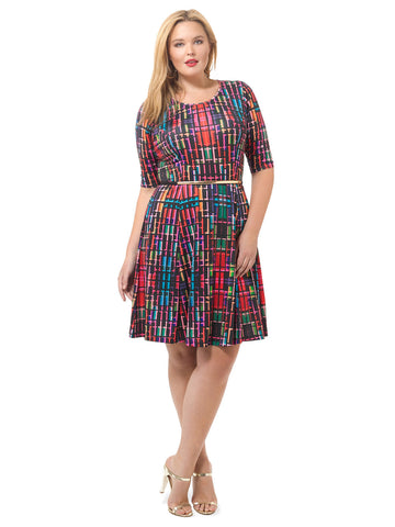 Colorfully Pixelated Fit & Flare Dress