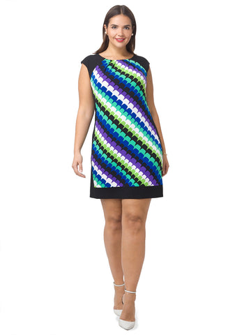 Shift Dress In Curved Zigzag Print