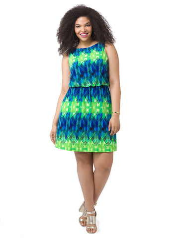 Blue & Lime Blouson Dress