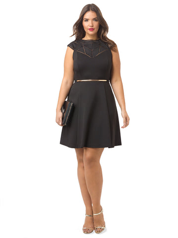 Geo Cut Out Fit And Flare Dress