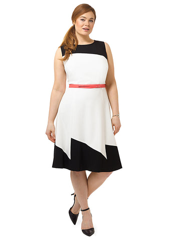 Black And Ivory Colorblock Dress