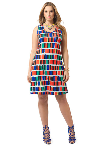Multi-Colored Geometric Tank Dress