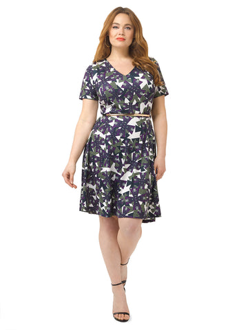 Windmill Print Fit & Flare Dress